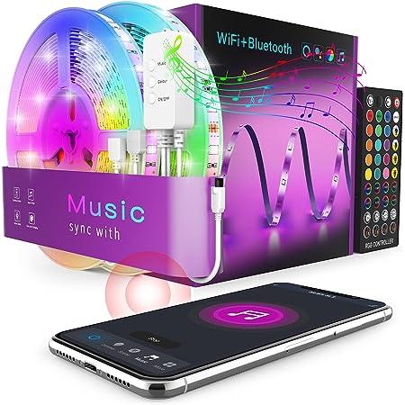 WiFi Tira LED 20M - Popotan 5050 SMD Luces LED Regulable Sync con Música, Tira LED RGB Inteligente Control Remoto por APP, Compatible con Alexa, Google Home para el Hogar, Fiesta, TV(solo 2.4G WiFi)