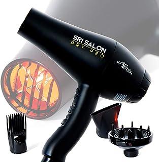 SRI Salon Dry Pro - Secador de pelo con tecnología de luz infrarroja, iones negativos para antiencrespamiento, secado rápido y brillo máximo, 1875 W de doble voltaje, incluye accesorios, concentrador, difusor y peine