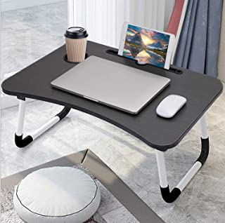 Laptop Bed Table Folding Laptop Table Tray Lap Desk Notebook Stand with ipad Holder Cup Slot Adjustable Anti Slip Legs Fol...