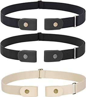 3 Pieces 4 Pieces Buckle Free Adjustable Women Belt, WHIPPY No Buckle Invisible Elastic Belt for Jeans Pants