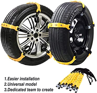 Jeremywell Snow Chains Anti-Skid Anti Slip Emergency Snow Tire Chains - Portable Emergency Traction Snow Mud Chains Universal Adjustable 10pcs Car Security Chains for SUV and Cars (Yellow-10pcs): image