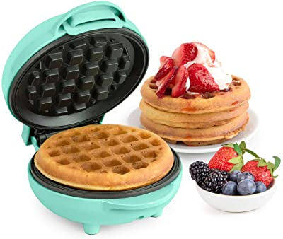 Nostalgia MyMini Personal electric waffle maker compact size 5 inch non-stick for kitchens, campers and more