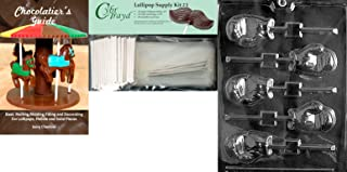 Cybrtrayd Boxing Glove Lolly Chocolate Mold with Chocolatier's Bundle, Includes 25 Lollipop Sticks, 25 Cello Bags, 25 Silver Twist Ties and Chocolatier's Guide