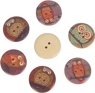 Mahaohao 50pcs Wooden Large Buttons Owl Cartoon Pattern 2-Hole Sewing Christmas Scrapbook DIY