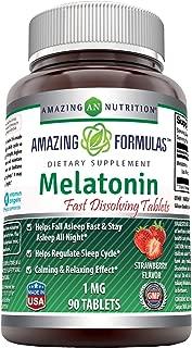 Amazing Formulas Melatonin - 1 Mg, 90 Tablets - Strawberry - Helps Fall Asleep & Stay Asleep All Night - Helps Regulate Sleep Cycle - Calming & Relaxing Effect.