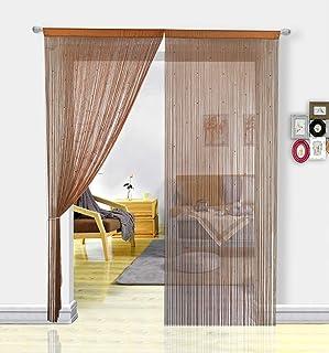 Pantalla de cortinas de cuerdas HSYLYM con cuentas,para decoración del hogar,café,90x245cm