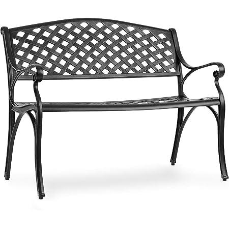 Spazio per 2 Persone Cuscino per Sedile Acquistabile Separatamente Panca da Giardino Nero Resistente agli Agenti Atmosferici Materiale: Alluminio Fuso blumfeldt Pozzilli BL