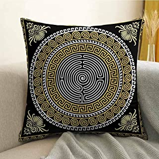 Antony Petty Greek Key Bedding Soft Pillowcase Classical Pattern with Intricate Design Spiral Waves Frame and Maze Hypoallergenic Pillowcase W16 x L24 Inch Pale Yellow White Black