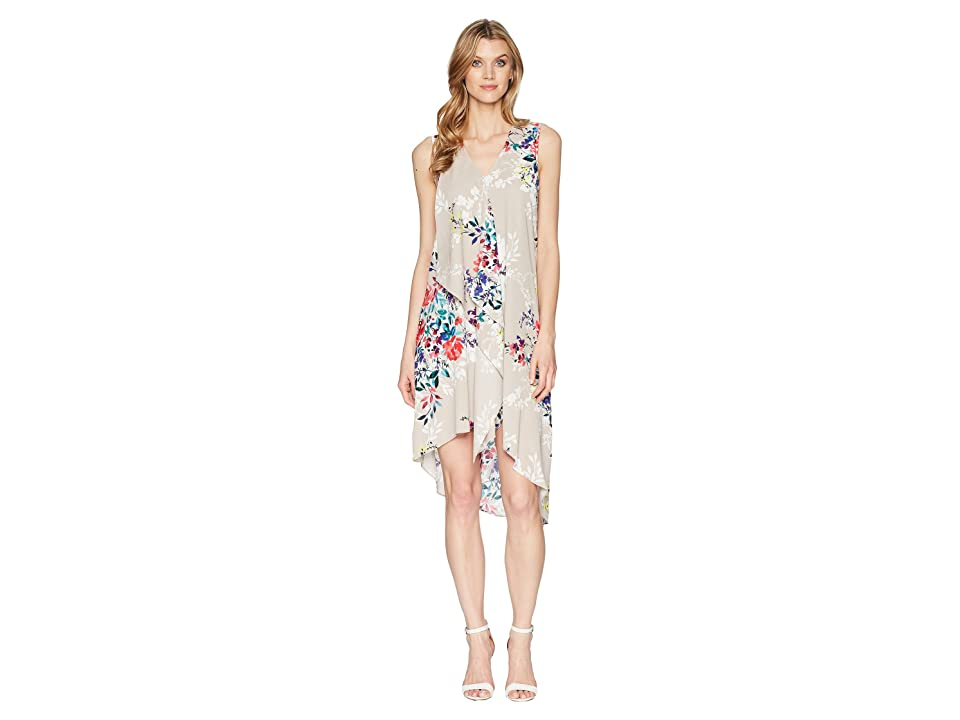 Adrianna Papell Asymmetric Sleeveless Shift Dress (Ivory Multi) Women