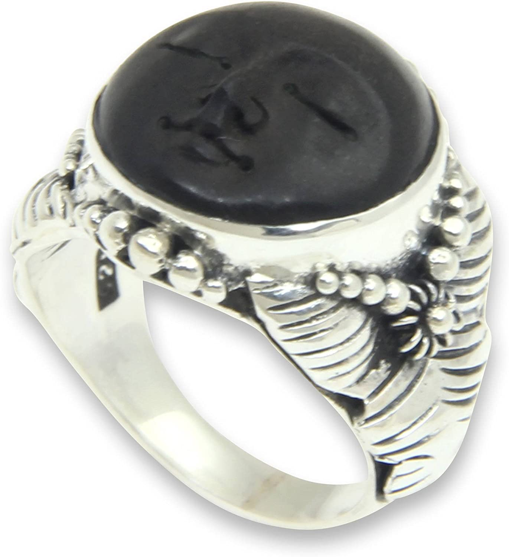 NOVICA .925 Sterling Silver SALENEW very popular! Carved Today's only Ra' Ring Wood 'Amun Ebony