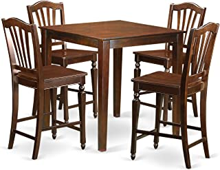 East West Furniture 5 Piece Kitchen Dinette Table and 4 Bar Stool Set