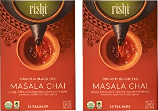 Rishi USDA Organic Black Tea Masala Chai Certified Kosher 15 Tea Bags - 1.85 oz (2 Pack)