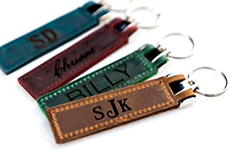 Personalized, Engraved Distressed Leather Keychain The Miami by Left Coast Original