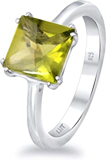 Green Peridot 2.30 Ct Square 925 Sterling Silver Solitaire Ring Valentine's Presents For Girls And Women By Orchid Jewelry