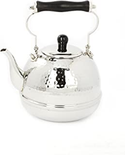Old Dutch Hammered Stainless Steel Teakettle with Wood Handle, 2 Qt. (618)