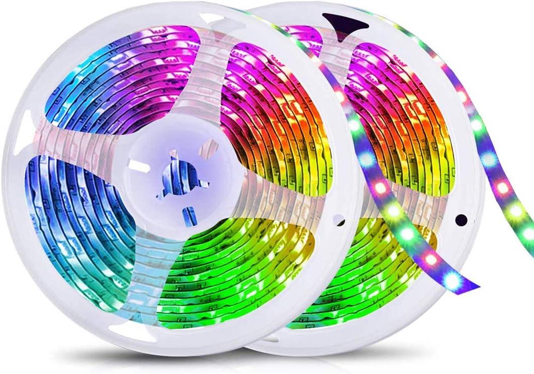 Tiras LED, Tiras de Luces LED 5050 RGB 10M Multicolor con Control Remoto, Impermeable IP65, Luces LED Decoracion para Hogar Habitación Cocina Bar Navidad Fiestas [Clase de eficiencia energética A+++]