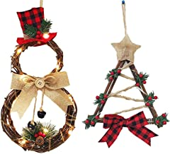 FEE-ZC 2PCS Christmas Wreath Hanging Decor, 15.7 Inch LED Front Door Wreaths Xmas Party Door Wall Garland Ornament Decors,...