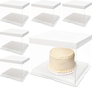 Clear Cake Box Carrier Packing with Lids (8.6 x 6.3 in, 6 Pack)