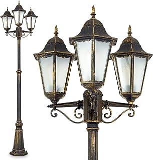 Lampadaire extérieur Hong Kong Frost en fonte d'alluminium de couleur bronze/marron/doré et verres opales, Réverbère à 3 t...