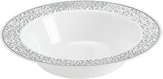 Disposable Plastic Bowls   Premium Quality White & Silver Dinnerware With Silver Lace Rim   Excellent for Weddings, Baby & Bridal Showers, Parties & More   Heavy Duty 12 Ounce Bowl   40 Count