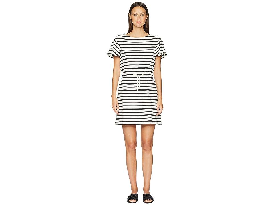 Kate Spade New York Stripe Drop Shoulder Dress (Off-White/Black) Women