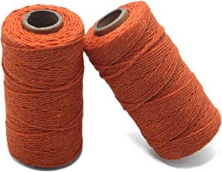Yzsfirm 2 Roll 2mm Cotton Twine Rope,656 Feet Orange Bakers Twine String for DIY Crafts and Gift Wrapping