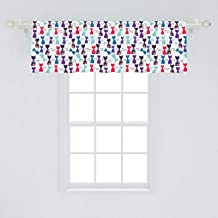 Ambesonne Cat Print Window Valance, Baby Animals in Colors with Flowers Funny Kittens Pattern Print, Curtain Valance for Kitchen Bedroom Decor with Rod Pocket, 54