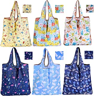 Reusable Grocery Bags, Foldable Storage Bag 6 Pack Large Shopping Bags, Cute Animals Pattern Groceries Bags with Pouch, Ri...