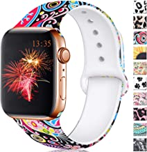Haveda Floral Bands Compatible for Apple Watch 40mm Series 4 Series 5, Pattern 38mm Apple Watch Band Women Printed Silicone Sport Wristbands for iWatch Series 3 Series 2/1, S/M, Colorful Jellyfish