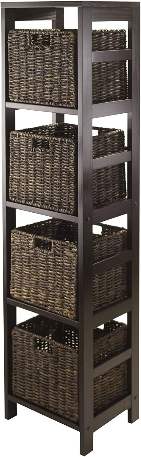 Winsome Wood Granville 5-Piece Storage Tower Shelf with 4 Foldable Baskets, Espresso