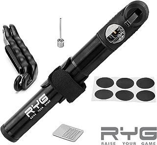 Raise Your Game Mini Bike Pump & Puncture Repair Kit, Fits Presta & Schrader, 160 PSI max Pressure, No Valve Changing Needed, Pressure Gauge, Mount kit, Portable, Emergency Roadside