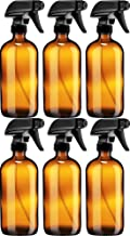 Sally's Organics Empty Amber Glass Spray Bottle - Large 16 oz Refillable Container for Essential Oils, Cleaning Products, or Aromatherapy - Black Trigger Sprayer w/Mist and Stream Settings - 6 Pack