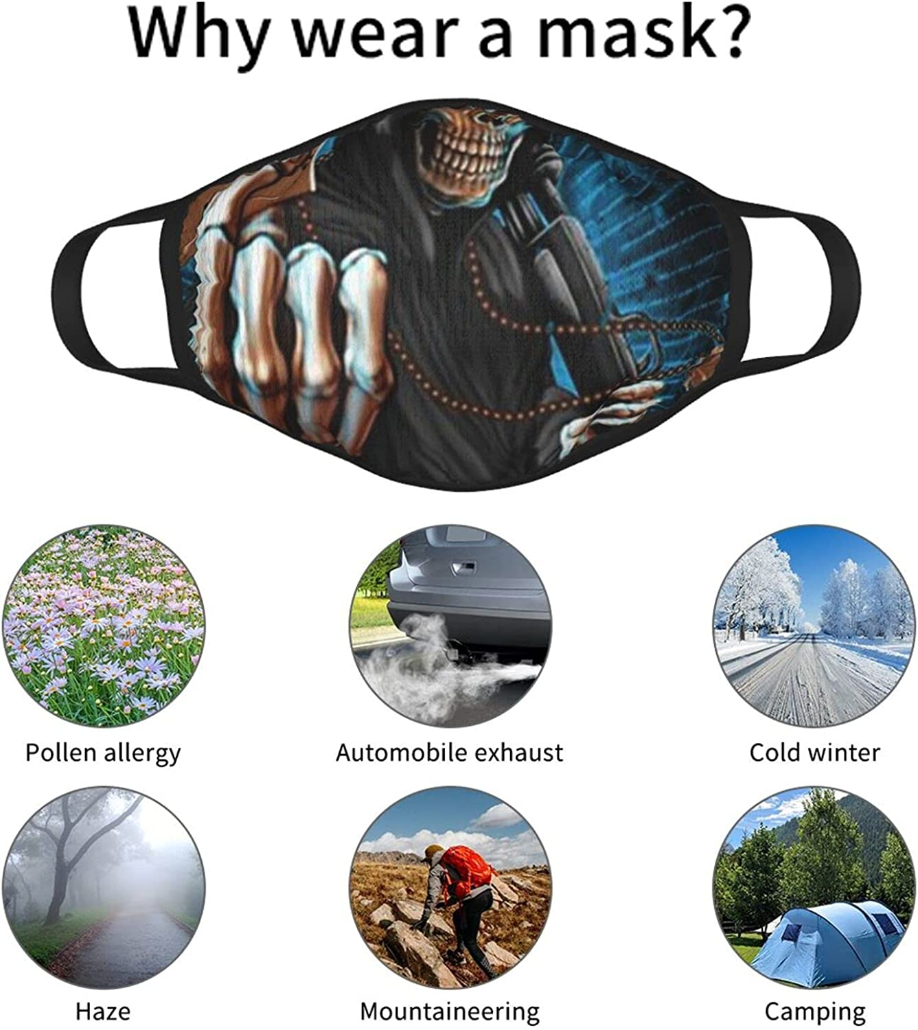 Balaclava Earmuffs Cool Skull Playing Flaming Cards Game Over Face Mouth Cover Mask Reusable Windproof Scarf Towel Cover Headwrap
