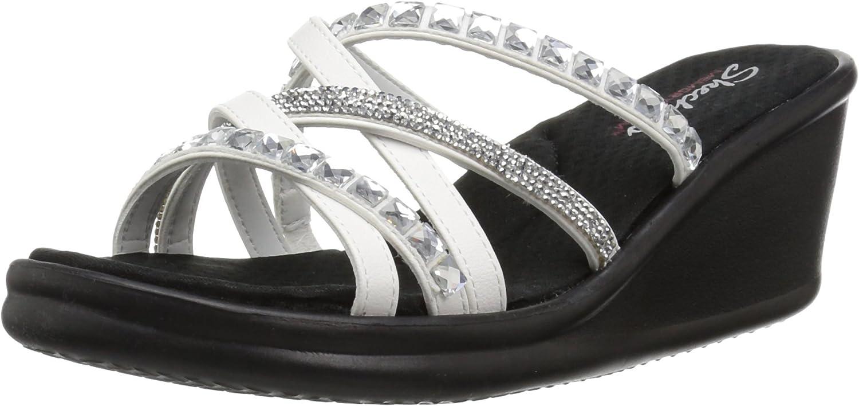 Skechers Women's Rumblers-Glass Flowers-Rhinestone Multi-Strap Slide Sandal Wedge