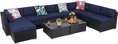 PHI VILLA Outdoor Sectional Furniture 10 Piece Patio Sofa Set Low-Back Rattan Wicker Conversation Set, Navy Blue