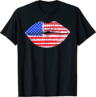 Summer Women 4th of July Lips American Flag Kiss Merica  T-Shirt
