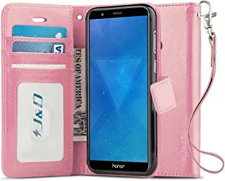 J&D Compatible para Huawei Honor 7X Funda, [Protección de Cartera] [Soporte Plegable] Funda Pesada Resistentes Billetera para Huawei Honor 7X Funda Cuero - Rosado