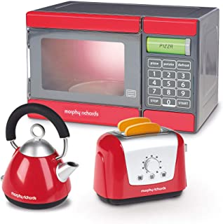 Casdon Kids Morphy Richards Mircowave, Kettle and Toaster Toy Playset, Red/Grey/Black