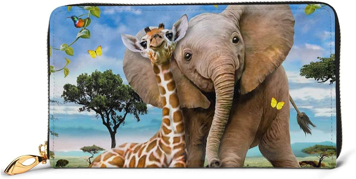 Elephant And Giraffe Leather Wallet Zip Jacksonville Mall Purse Around Women Long Indianapolis Mall