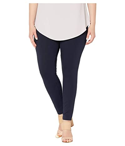 HUE Plus Size Wide Waistband Blackout Cotton Leggings (Navy) Women