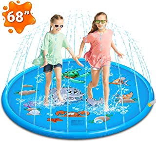 Attikee Splash Pad, Sprinkler for Kids Toddlers, 68 Inches Wading Pool for Learning, Water Inflatable Backyard Play Mat for Babies, Large and Shallow Swimming Pool for 1-12 Year Old Boys Girls