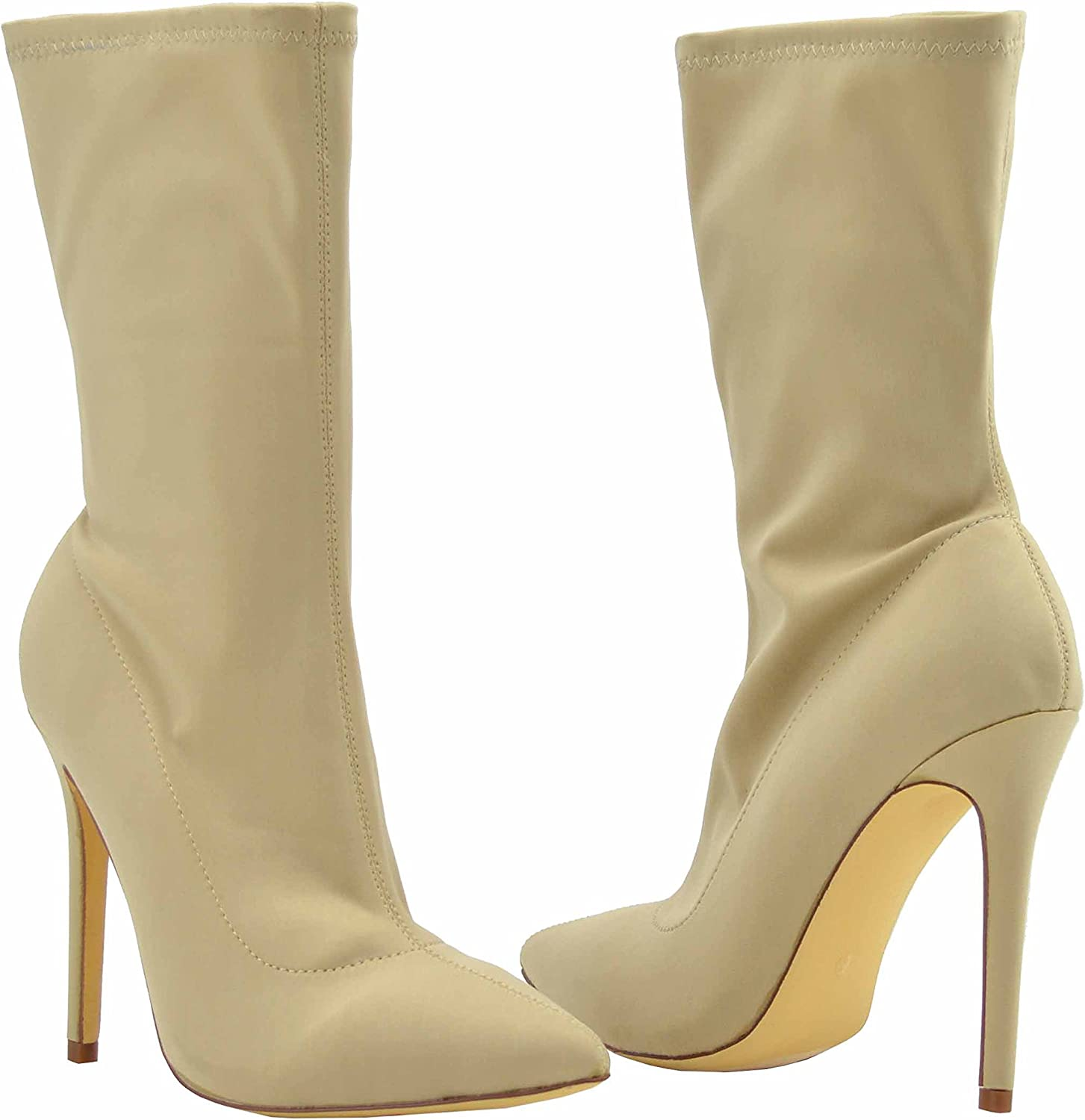 Olivia Jaymes Women's Pointed Toe Lycra Pull On High Heel Stiletto Ankle Boots