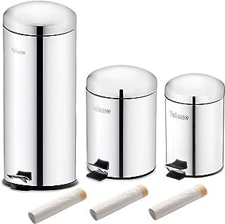 Velaze Poubelle à Pédale à Domicile en Acier INOX, 3 Poubelles de 3L/5L/30L, 60 Pcs Sac-poubelles Offerts, Bacs à Ordures ...