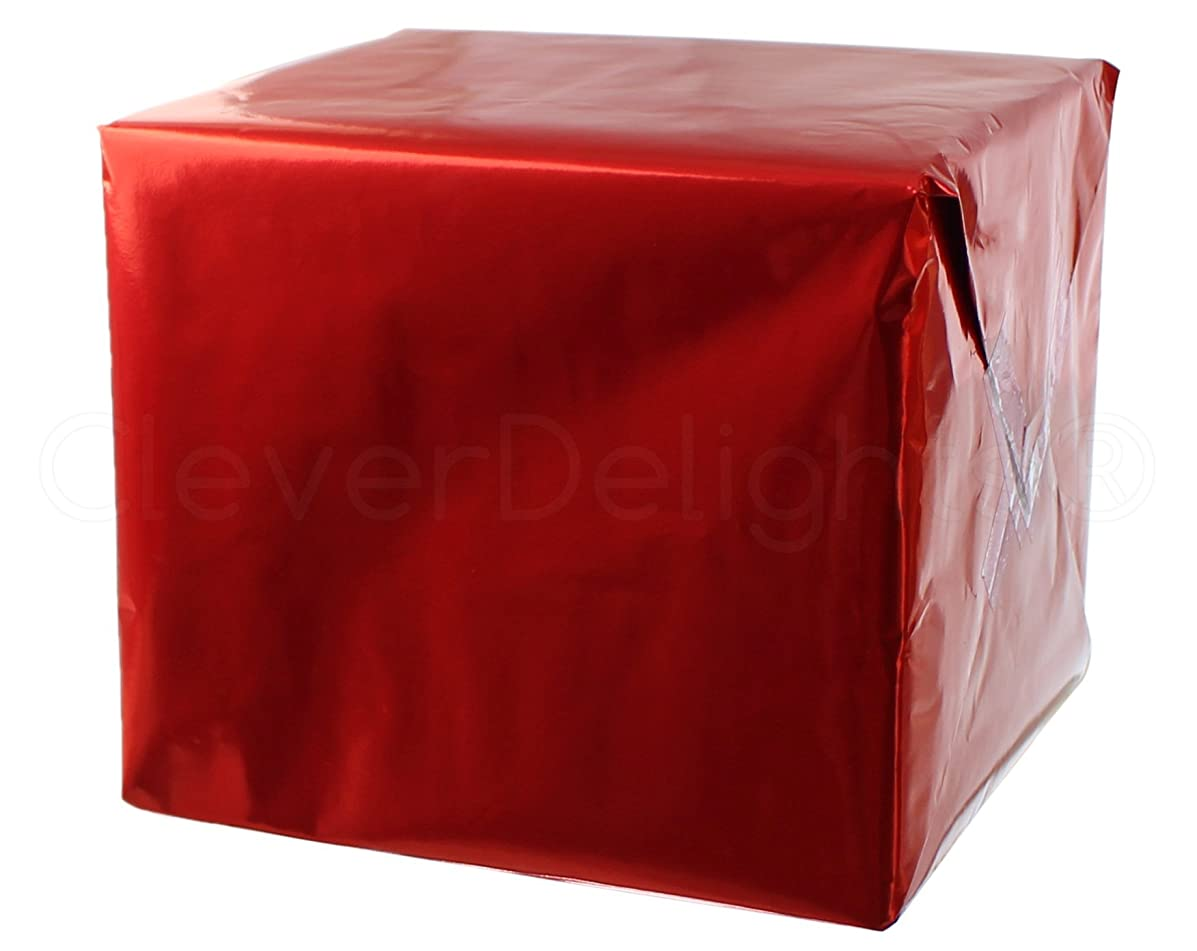 CleverDelights Metallic Red Wrapping Paper - 30
