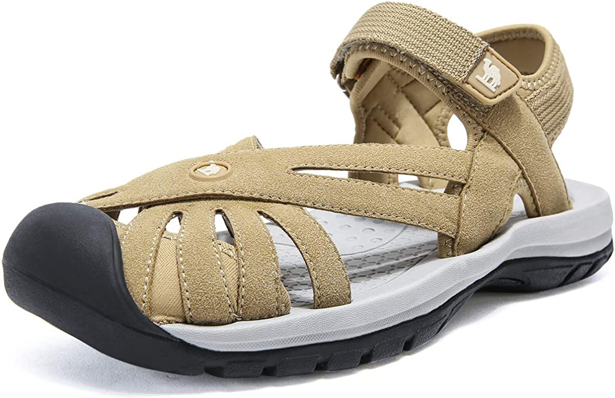 CAMEL CROWN Women's Hiking Sandals Sport Water Athletic Comfortable Walking Closed Toe Sandals for Outdoor Beach Apricot 7.5