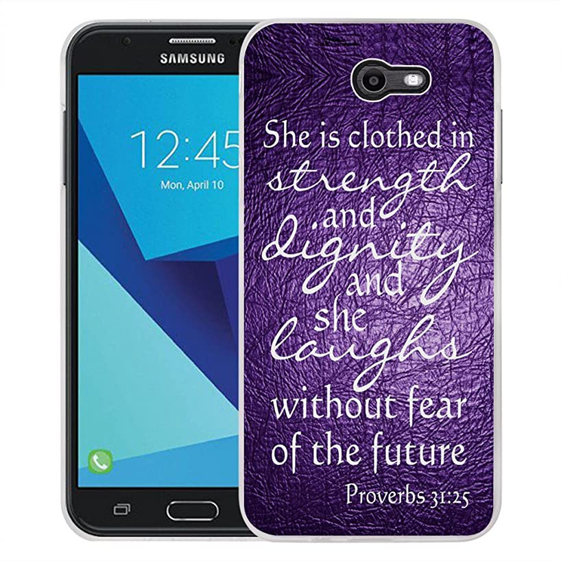 Galaxy J7 V Case, Galaxy J7 Perx Case, Galaxy J7 Sky Pro/Galaxy Halo Case, Viewll Samsung Galaxy J7 2017 Case Quotes Proverbs 31:25 purple