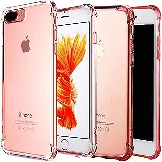 [2 Pack] iPhone 7/8 Plus Case CaseHQ Premium TPU Ultra Slim Anti-scratch Flexible TPU Bumper Cover Extreme Lightweight Thin Gel TPU (Clear+RoseGold iPhone 7/8 Plus Case)