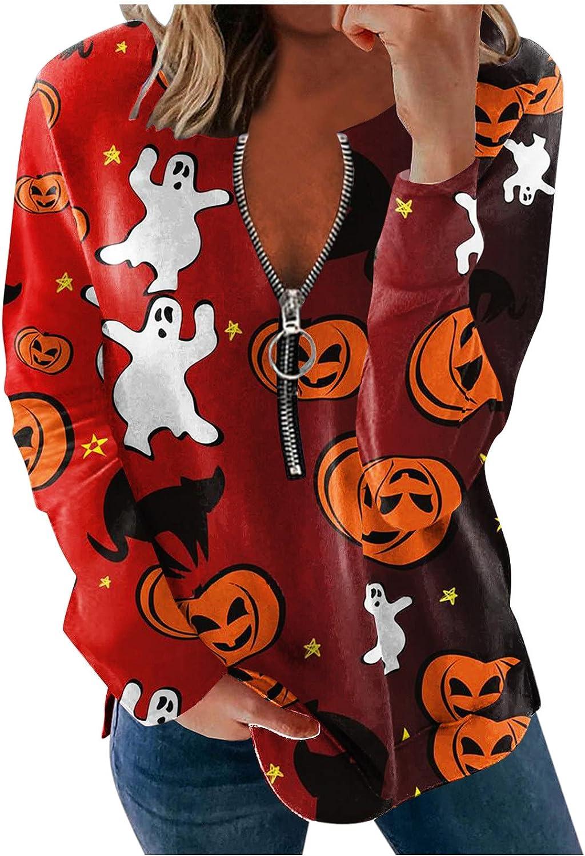 AODONG Halloween Sweatshirts for Women,Womens Funny Zipper T-Shirts Long Sleeve Casual Tunics Pullover Tops Sweater
