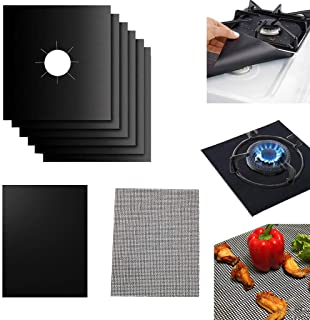 Puyujin Stove Burner Cover, Reuseable Gas Range Protector Stove Top Liners With Double Thickness, Non-Stick, Easy To Clean (black)