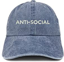 Trendy Apparel Shop Anti Social Embroidered Soft Crown Cotton Adjustable Cap